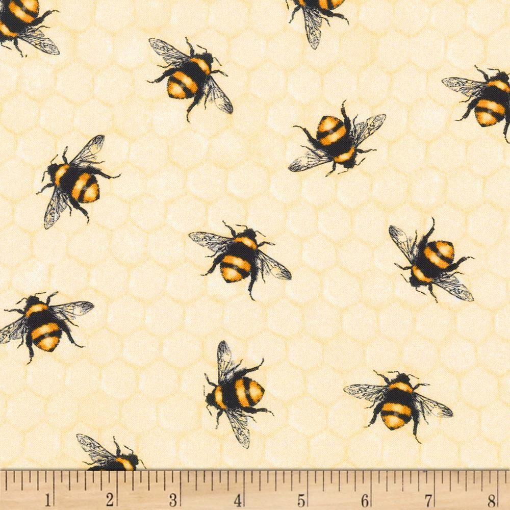 BEE BUMBLE BEES BUZZING YELLOW BLACK WHITE COTTON FABRIC FQ