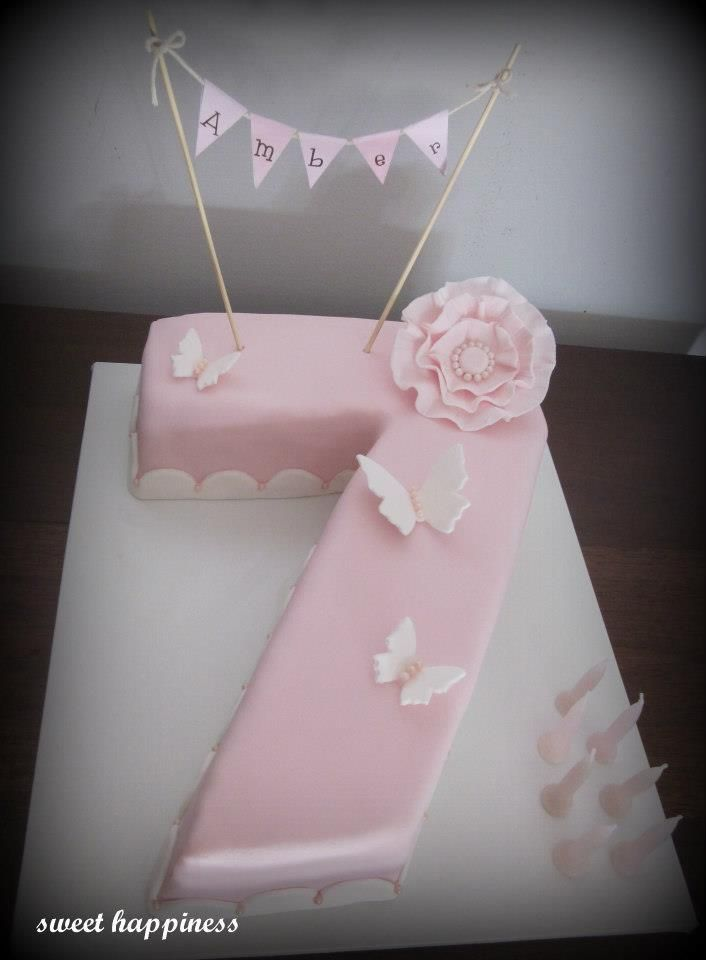Pink Vintage Bunting Butterfly Flower 7th Birthday Cake In