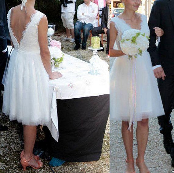 V neck Aline Lace Tulle Short Wedding Dress Lace by Swarovski169, $138.00