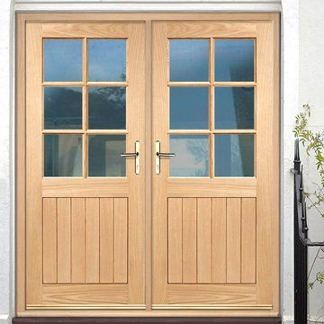 Cottage 6 Pane Oak Double Door And Frame Set With Clear Double