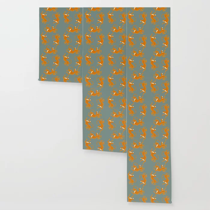 Leopard Race Blue Wallpaper By Megangalante Society6 Blue Wallpapers Wallpaper Peel And Stick Wallpaper