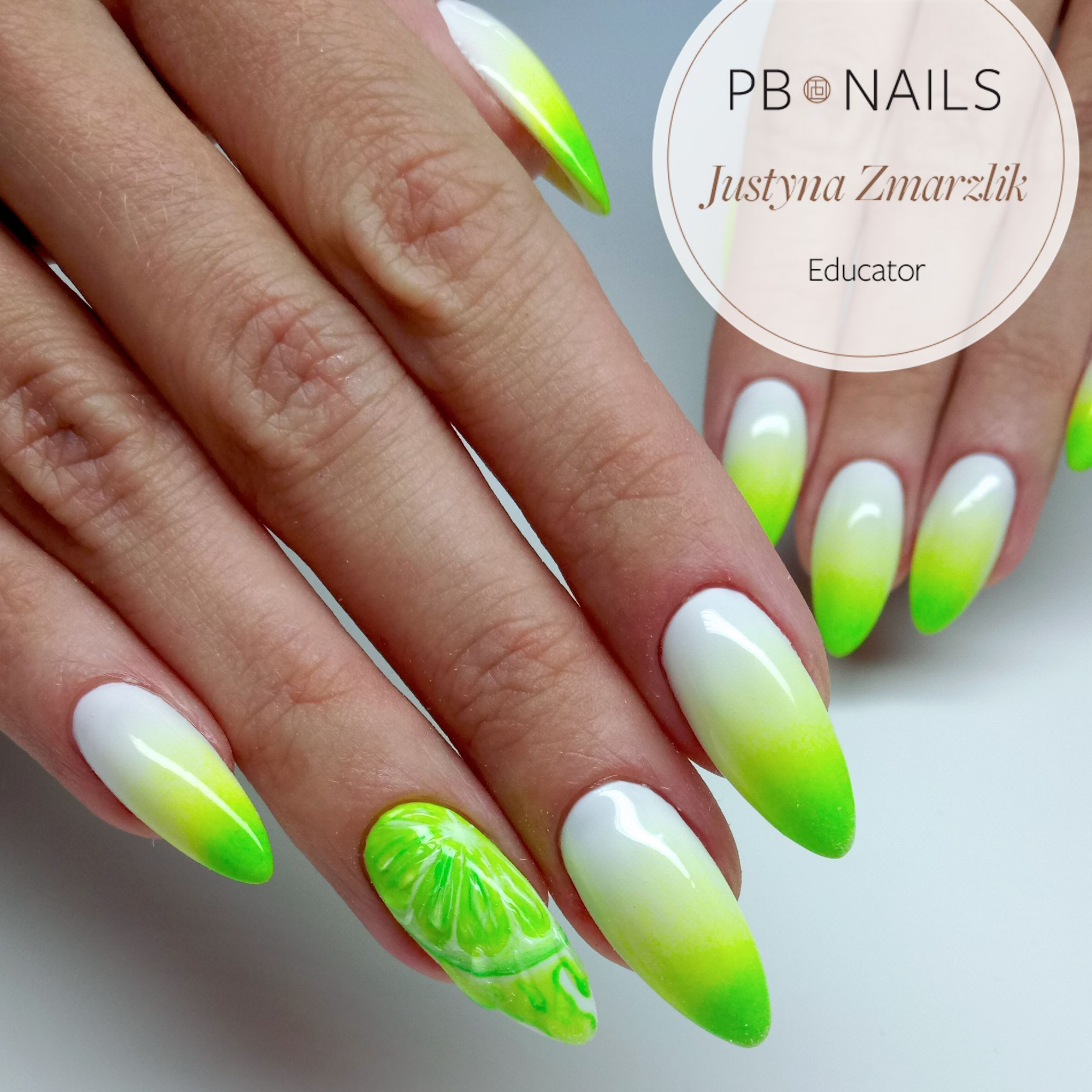 Limonka 3 Paznokcie Manicure Zielone Paznokcie