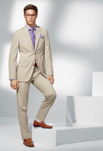 Men's Fashion: Tan Suit, Grey Shirt & Black Tie. | Men's Fashion ...