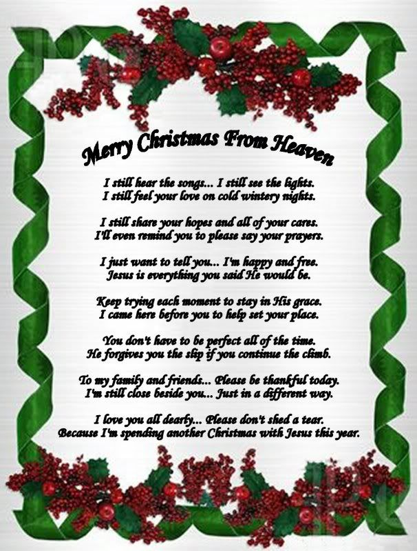 christmas in heaven poem in loving memory of erika renee ariza - Merry Christmas From Heaven Poem