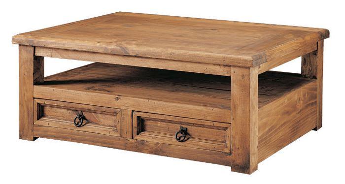 Mesa de centro de estilo rustico fabricada en pino for Mesas de centro rusticas baratas