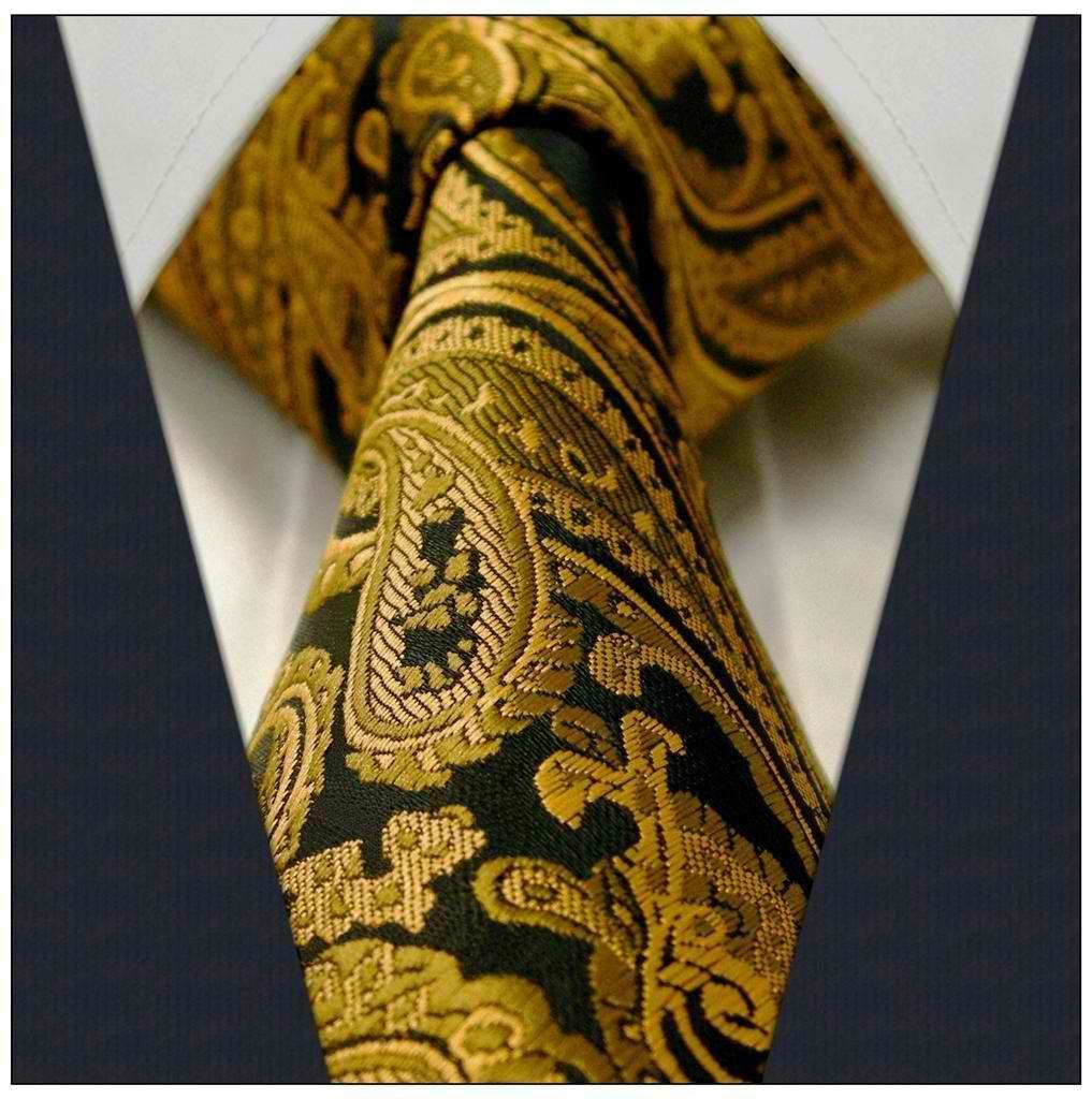 df11c95cb61a Black / Gold Paisley / Floral Necktie | Men'sStyle | Paisley tie ...