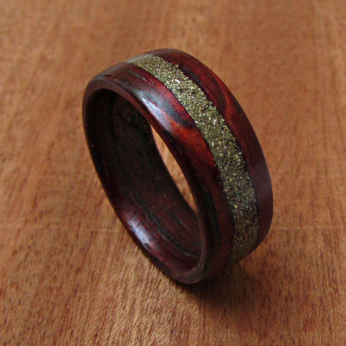 Red Padauk Wooden Wedding Band For Men Wood And Brass Ring Mens