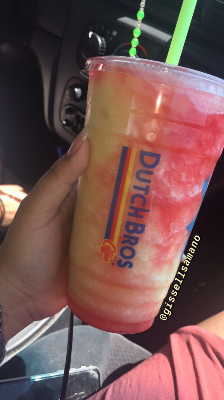 Passion peach coconut w/ pomegranate drizzle blended rebel  #dutchbros