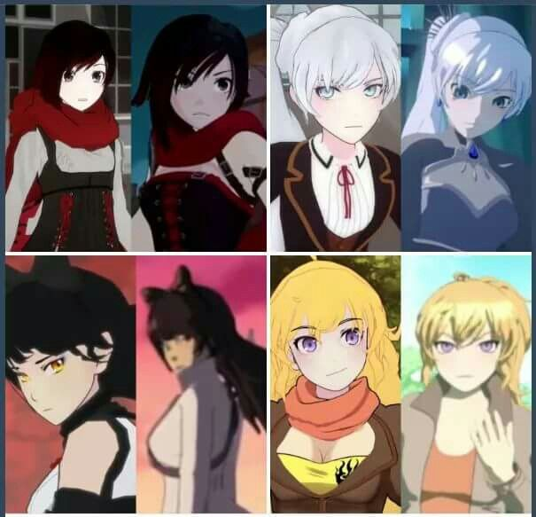 RWBY, then and now  Ruby is still chasing red like roses