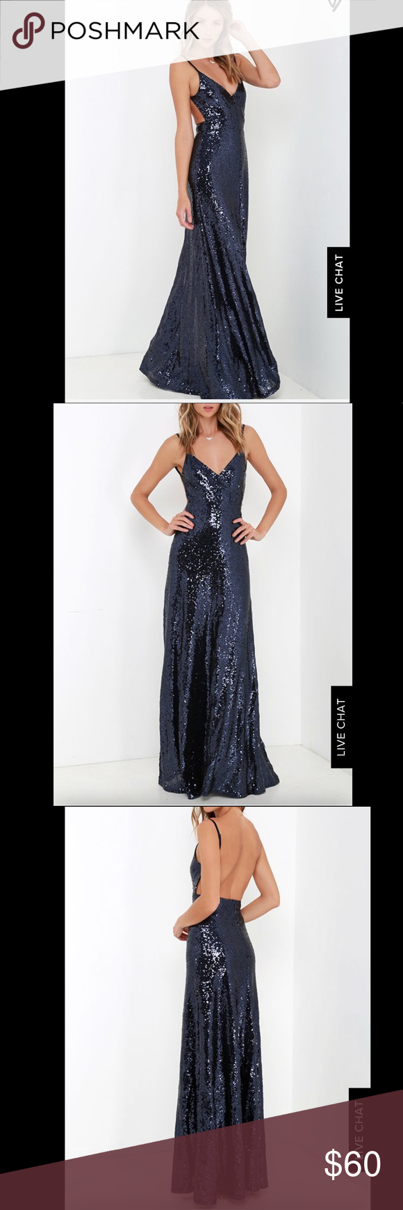 78f568f28b Lulus XS Blue Sequin Formal Maxi Dress Fancy Back Perfect condition size  extra small Lulus floor