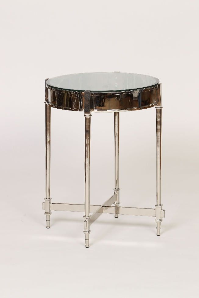 Contemporary Nickel Side Table Beveled Glass Top Home Accent Decor Beauteous Home Accents Decor Outlet