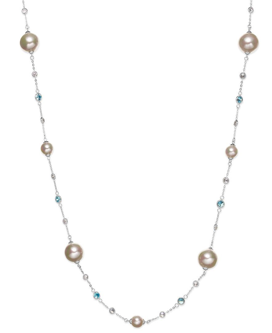 Majorica Sterling Silver Blue Cubic Zirconia and Manmade Pearl Illusion Necklace