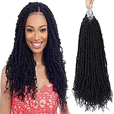 Pre-twisted Passion Twist Crochet Hair Pretwisted Spring Twist Hair 6 Packs 20inch Prelooped Crochet Braids Mini Loc Bomb Twist Braiding Hair For Women Befunny Hand Made Black Crotchet(20,1B#)