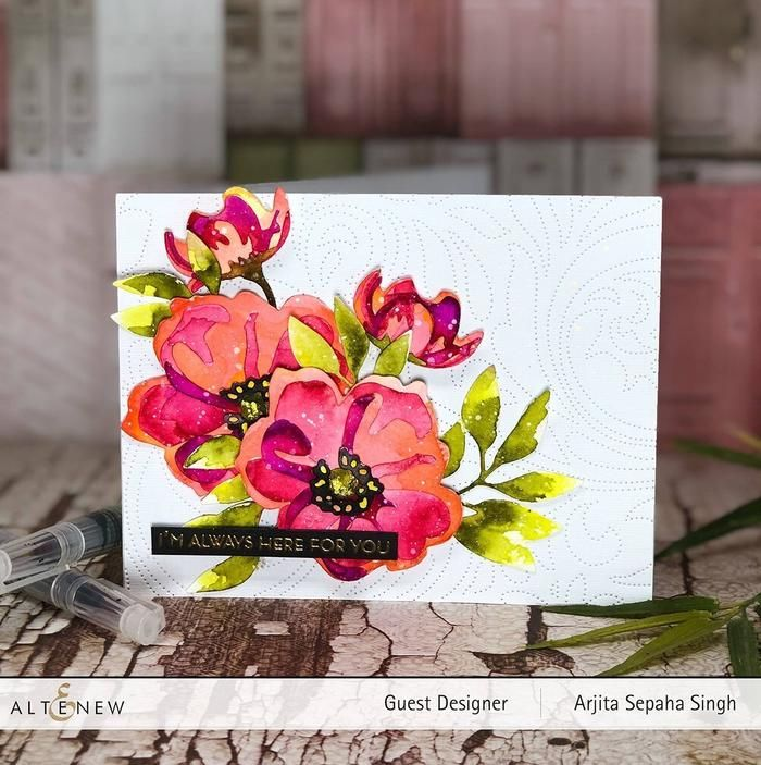 5 x 3D Embossed Flowers and Leaf Card Topper Hand Coloured with Inks