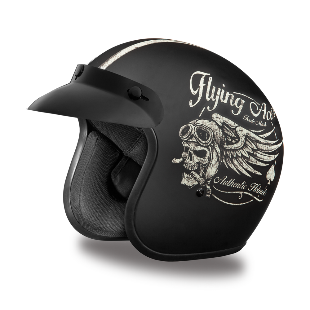 Bell custom 500 gloss black vintage low profile helmet chopper harley - Daytona Cruiser 3 4 Helmet Flying Aces