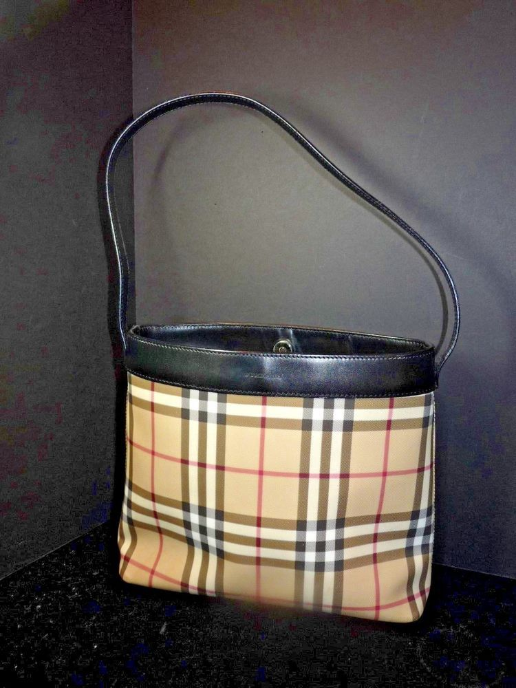 533f0ccfb530 Vintage BURBERRY Nova Check Shoulder Bag Black Trim Coated Canvas Canonbury   Burberry