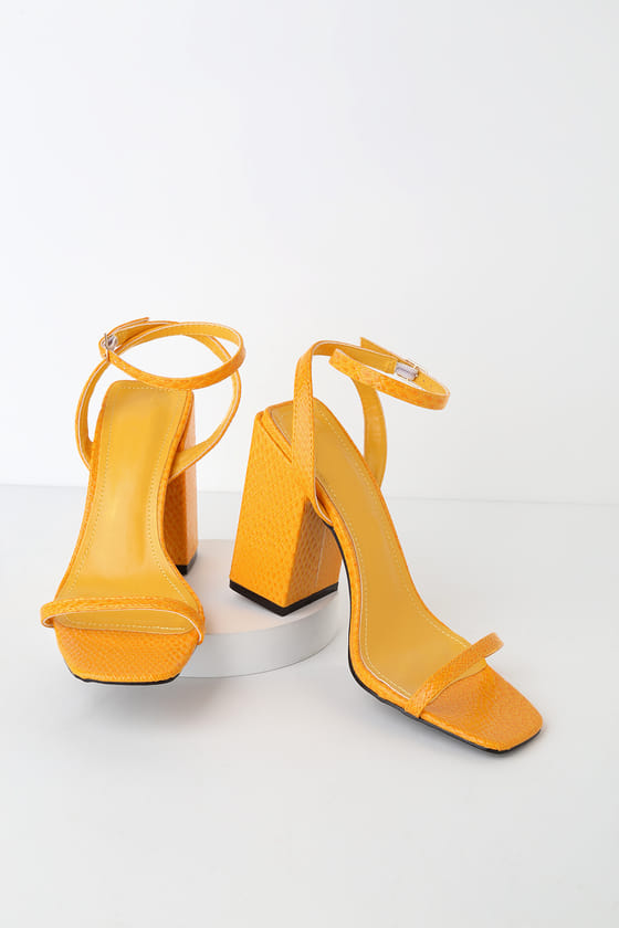 Leighla Yellow Snake Square Toe Ankle