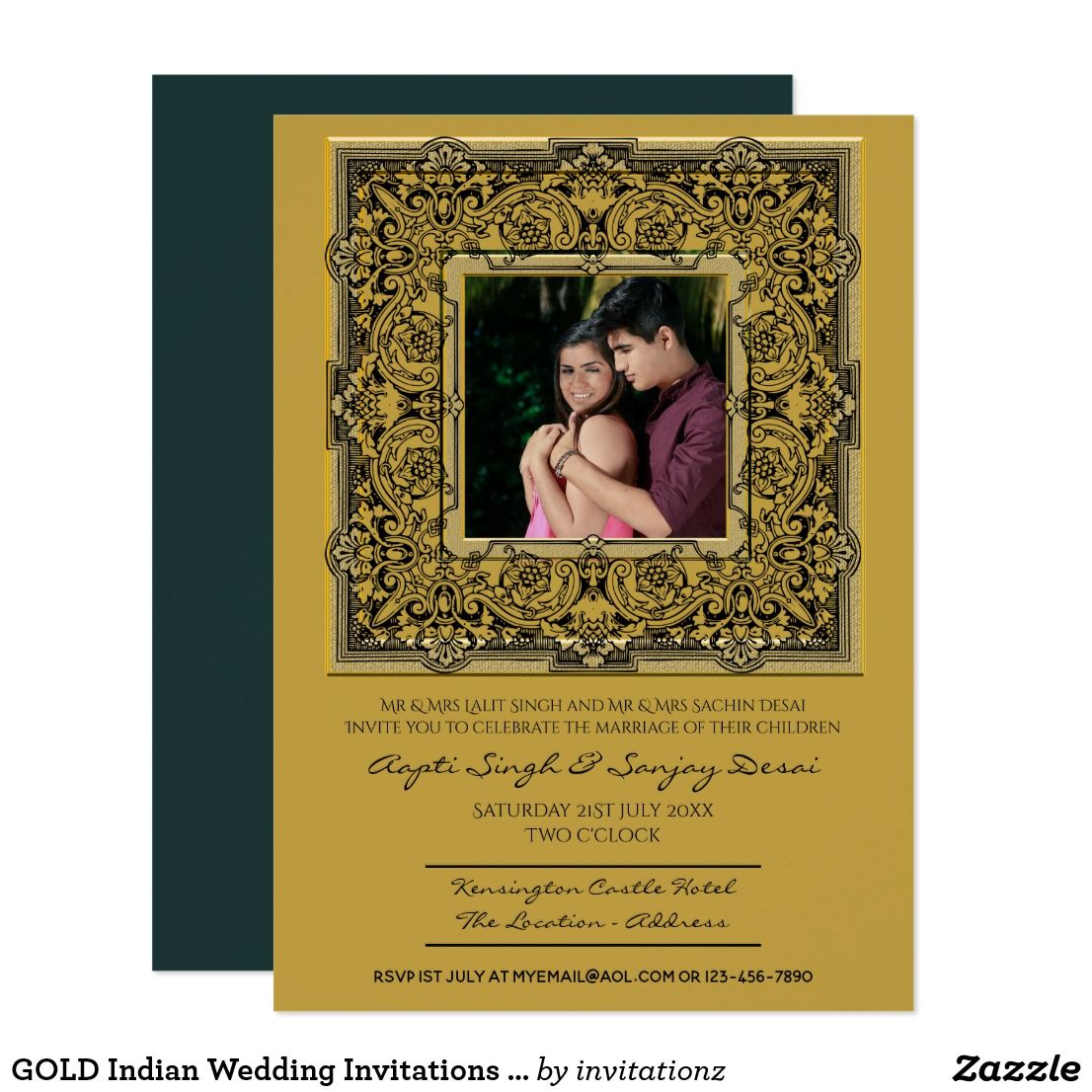 Gold Indian Wedding Invitations Add Photo Indian Wedding