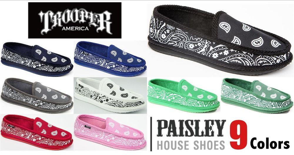 f98e7c3509c8 Trooper America Bandana SLIPPERS HOUSE SHOES Gangsta Rag Paisley   TrooperAmerica  Houseshoes
