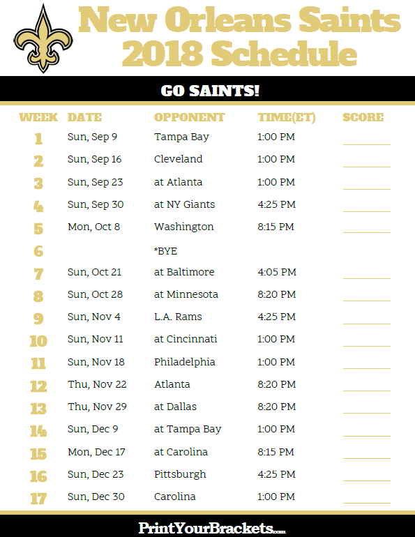 Printable 2018 New Orleans Saints Football Schedule Printable Nfl