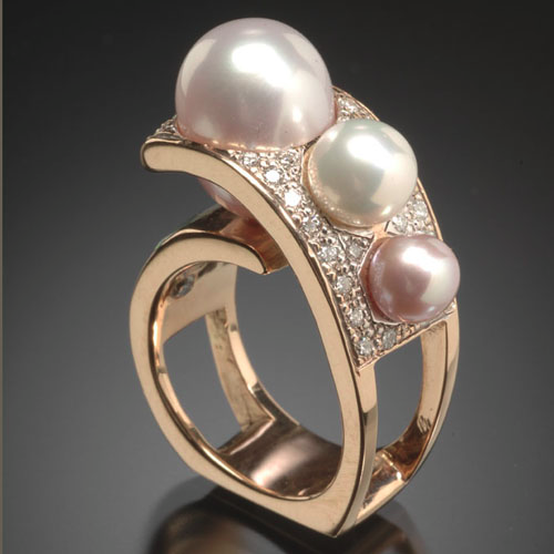 Randy Polk Designs Freshwater Pearl And Diamond Ring.......