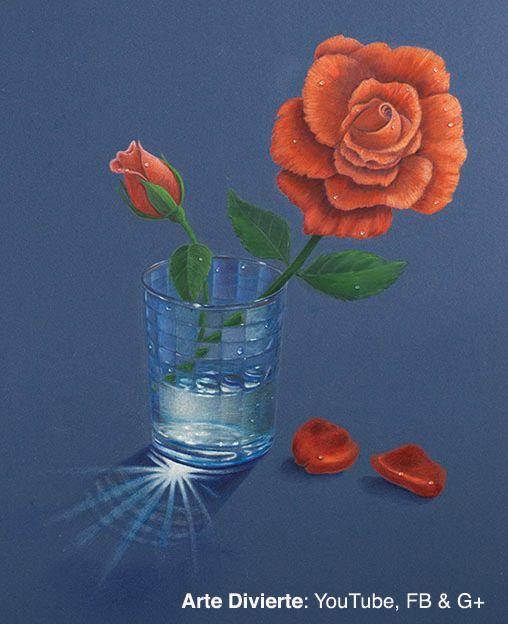 Cmo dibujar una rosa en un vaso de agua con lpices de colores