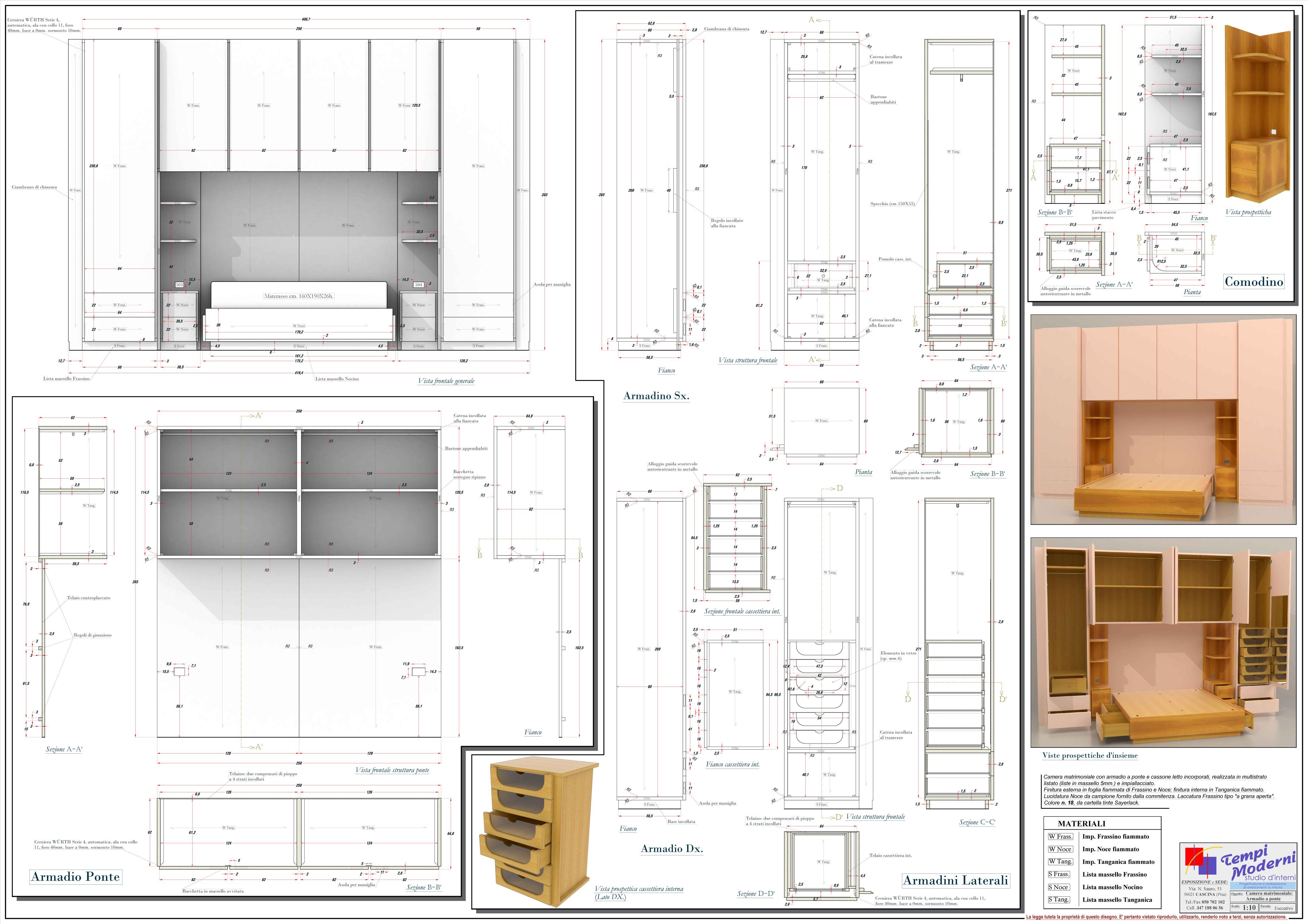 Disegno esecutivo armadio a ponte | Progetti e Disegni | Pinterest