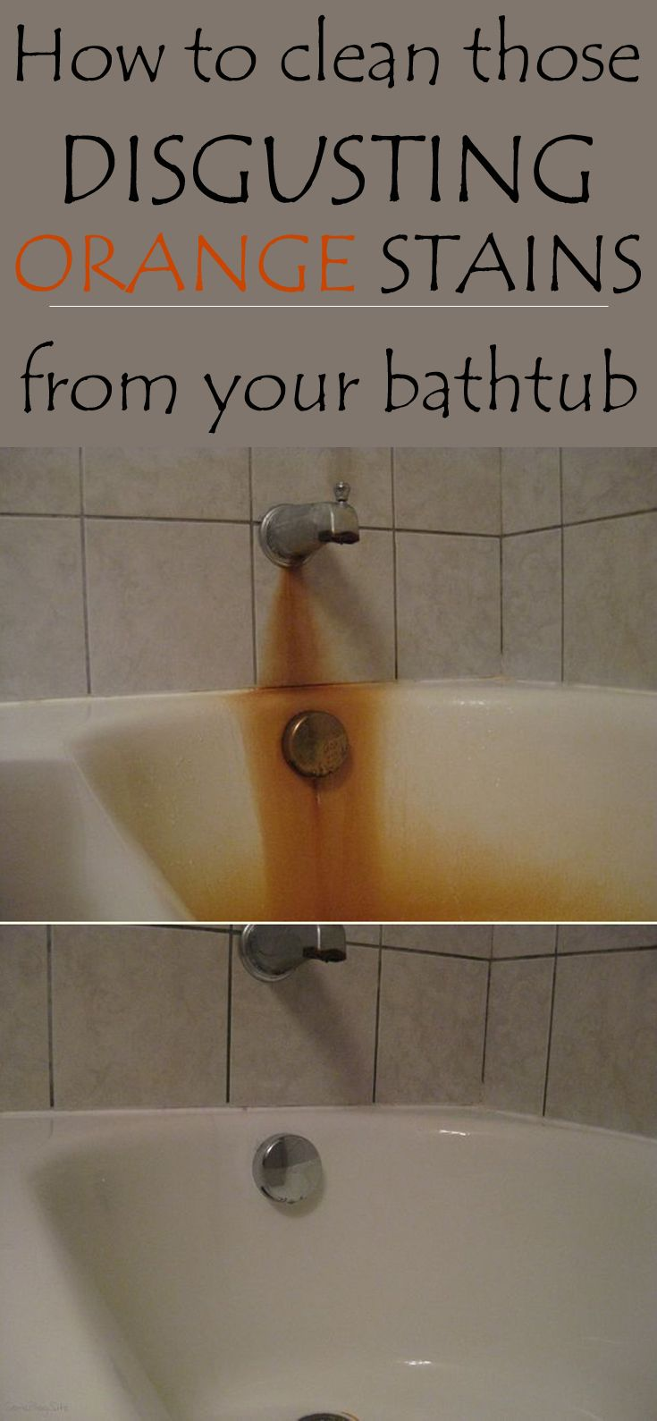 How To Clean Disgusting Orange Stains From Your Bathtub Cleaningtutorials Net Your Cleaning Solutions House Cleaning Tips Cleaning Hacks Household Cleaning Tips