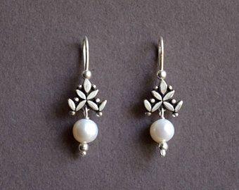 Small Dangle Earring Silver Earrings Stones Sterling Dainty Leaves Wedding Gift