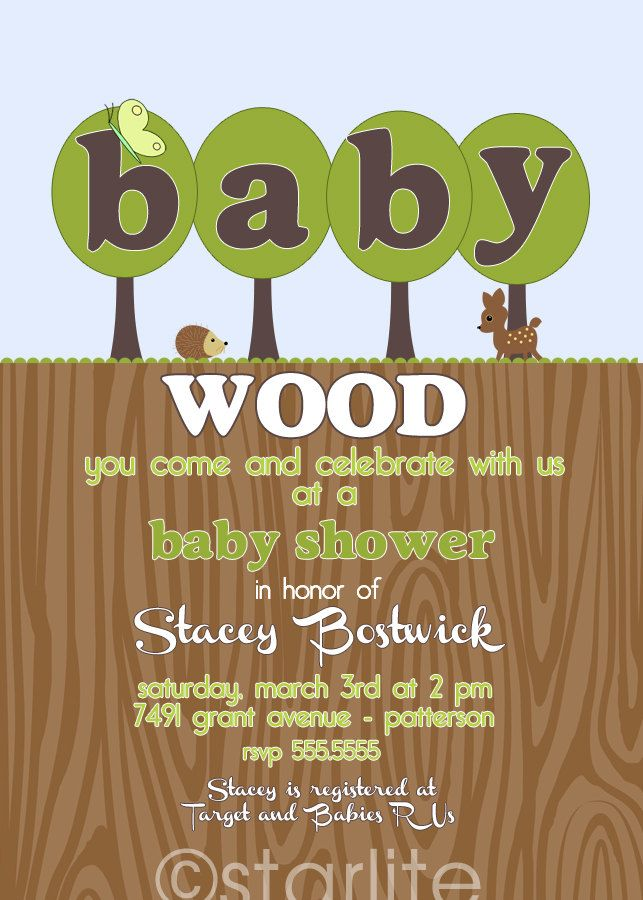 baby shower invitation - Woodland Wood Forest Green Brown - Wood You - baby shower boy or baby shower girl - Printable DIY. $15.00, via Etsy.