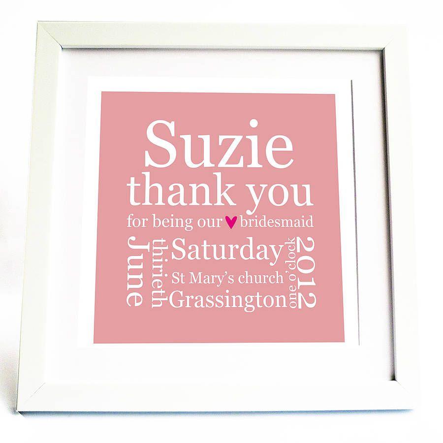 Personalised Bridesmaid Thank You Print | Wedding ideas | Pinterest ...