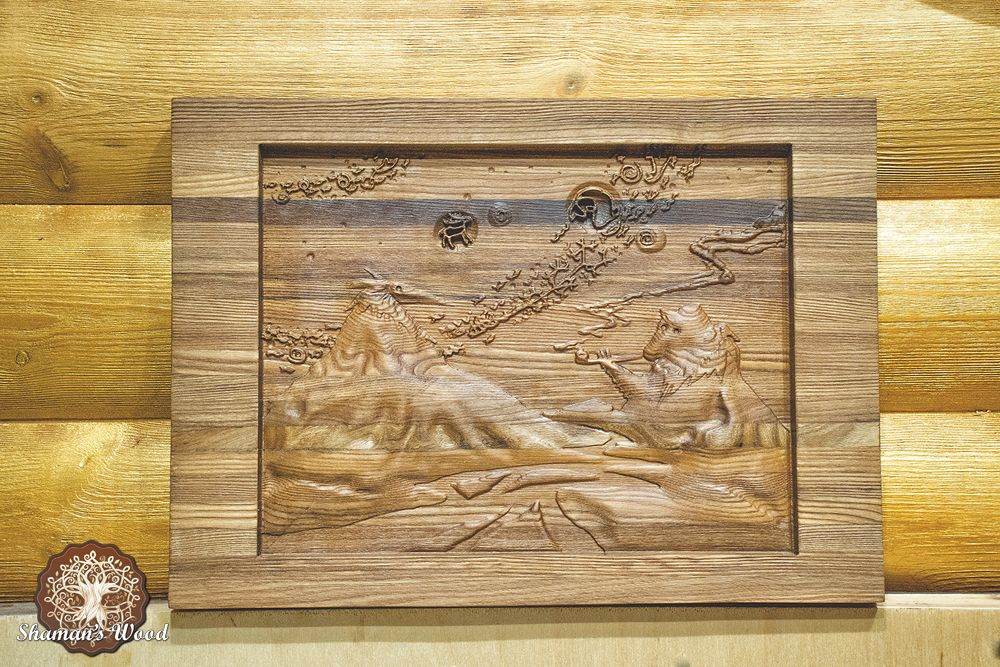 Wooden Cutting Board With Magic Volcanoes Image Made Of Ash Tree