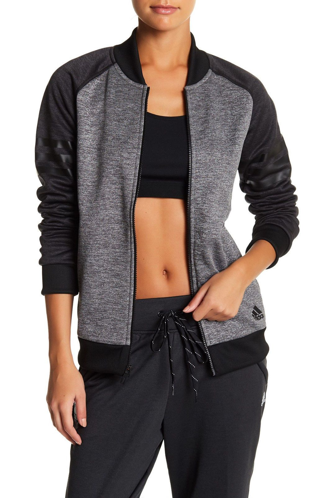 Womens Adidas TEAM ISSUE FLEECE JACKET Black Grey Zip Up Jacket NEW ... ea136c6fb