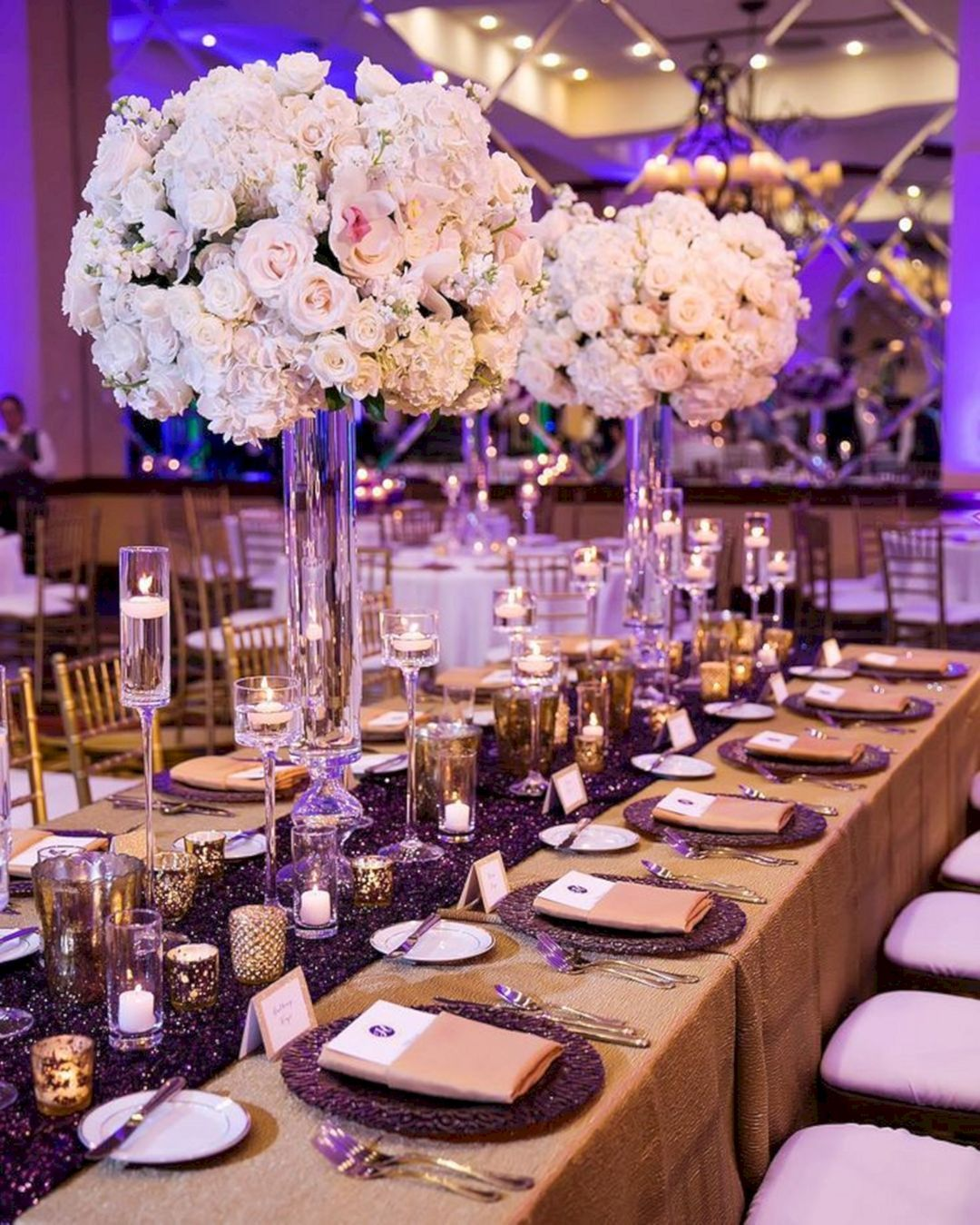 15 blue and purple wedding lighting ideas for stunning party