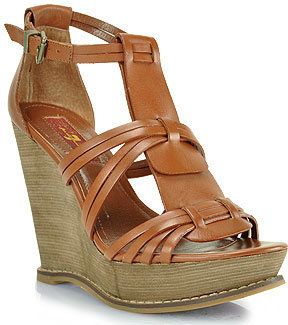 04576068900 ShopStyle  7 for All Mankind - Rhemy - Cognac Leather Wedge Sandal ...