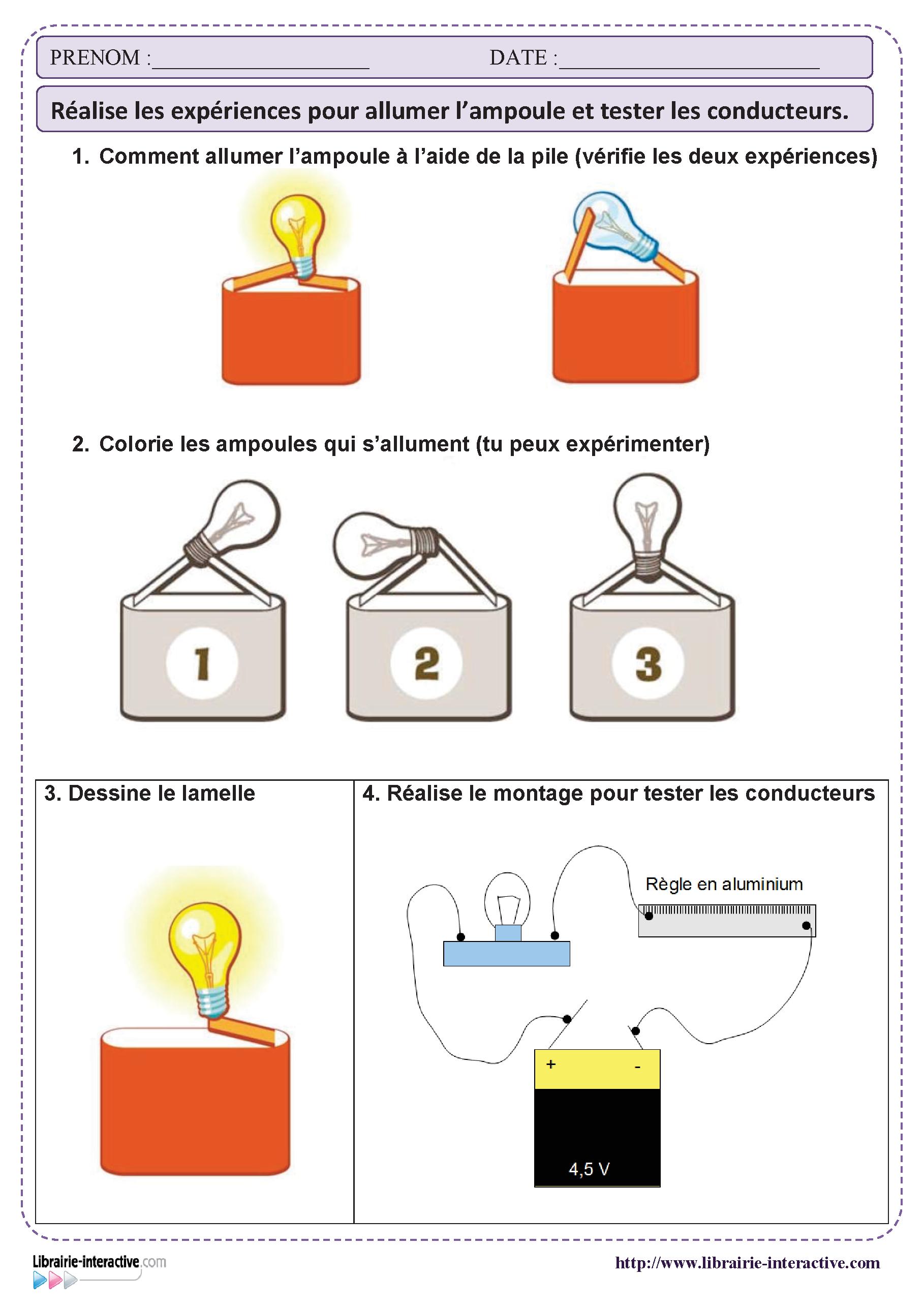 une petite activit pour manipuler la pile et l 39 ampoule et. Black Bedroom Furniture Sets. Home Design Ideas