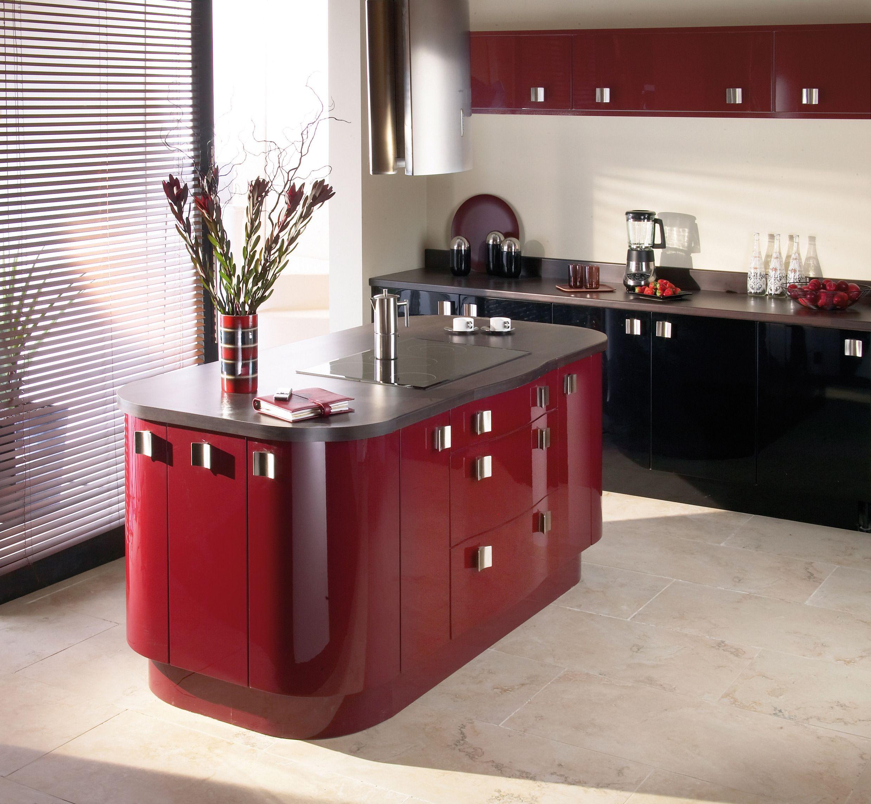 Opus Morello Red Gloss Kitchen Kitchen Cabinet Design Kitchen Design Kitchen Fittings