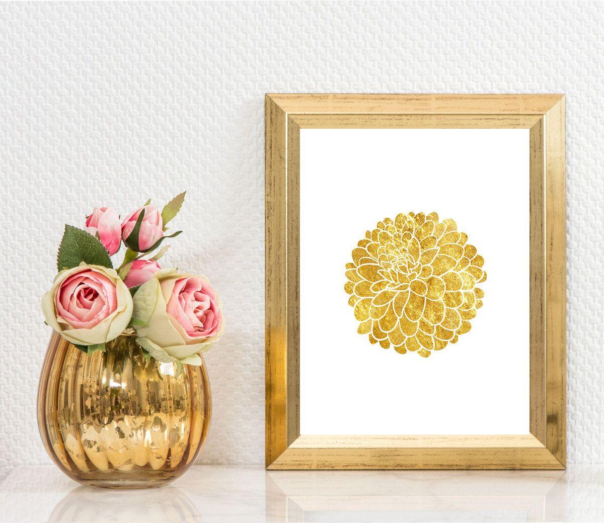 Dahlia Printable,Gold Dahlia Poster,Floral gold art,Dahlia Wall Art ...