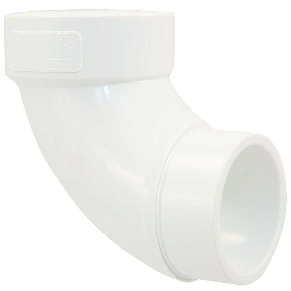 Nibco 1 1 2 In Pvc Dwv 90 Degree Spigot X Hub Street Elbow C48072hd112 Home Depot Pvc Fittings 90 Degrees