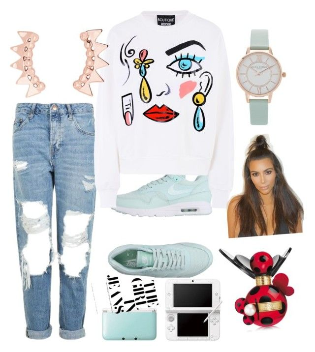 """""""lady in jeans"""" by wk-wiktoria on Polyvore featuring Topshop, NIKE, Boutique Moschino, Olivia Burton and Marc Jacobs"""