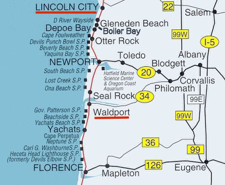 Map Of Oregon Coastal Cities Oregon Map - Map of oregon with cities
