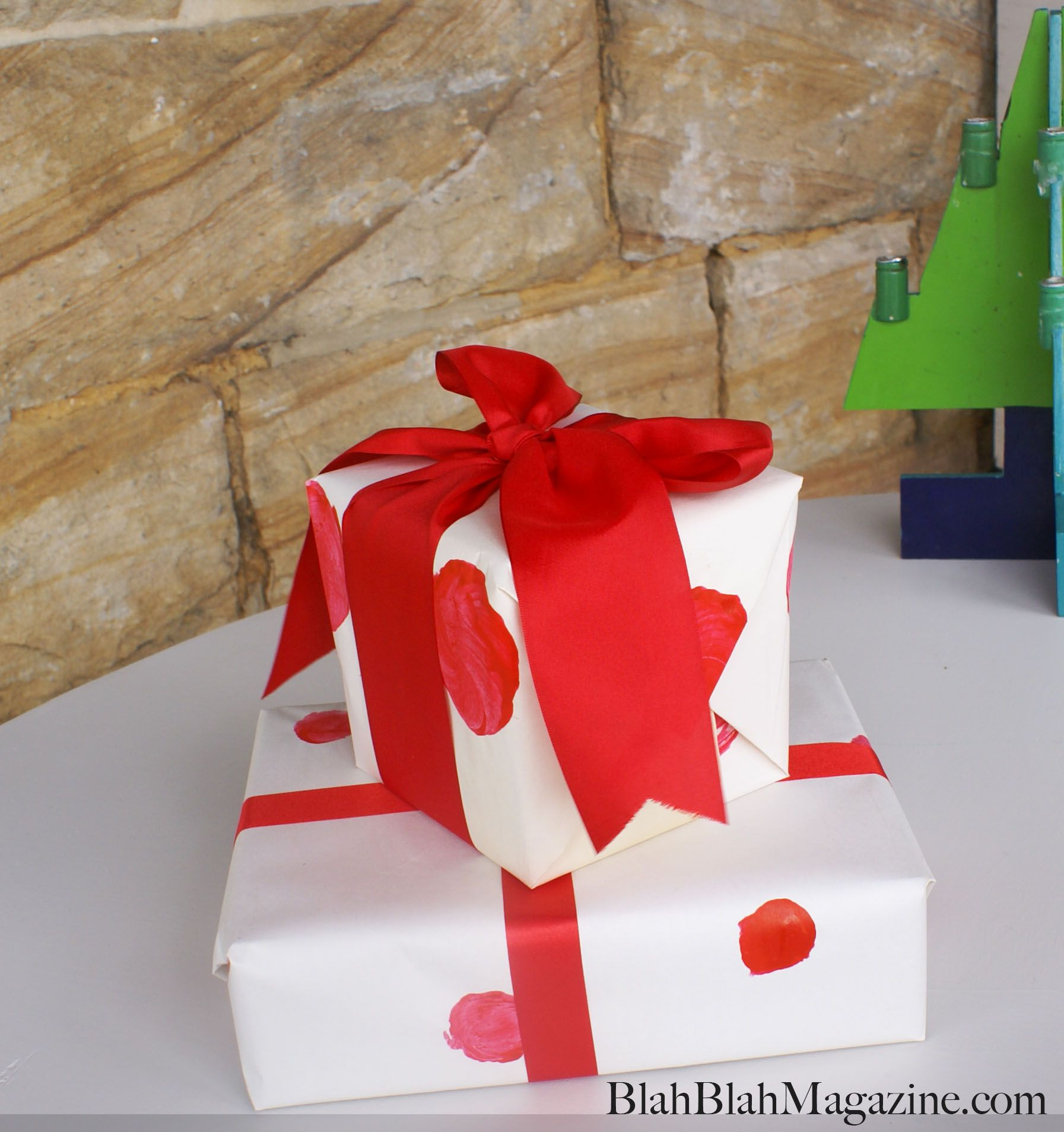 Wrapping Paper Made Using Childrens Paint And Cork And Apple