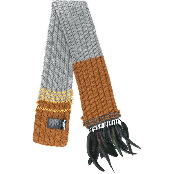 Feather-trimmed wool scarf Prada k8yHKMOXn