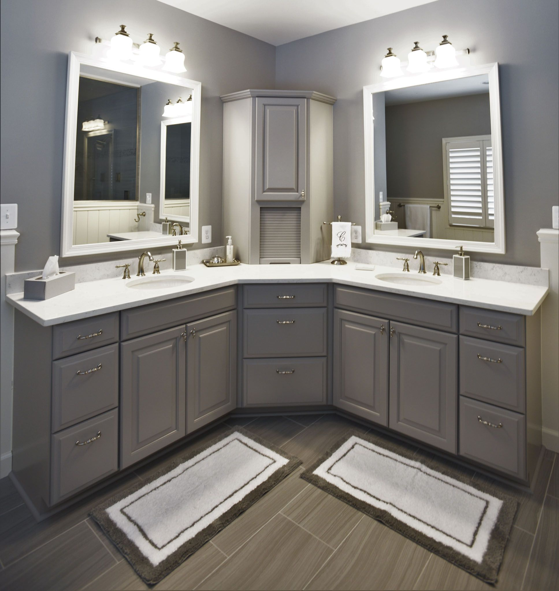 This Large Corner Vanity Has Striking Features With Double Mirrors And Sinks Beautiful Cab Corner Bathroom Vanity Bathroom Countertops Bathroom Remodel Master