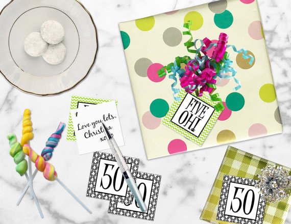 Printable 50th Birthday Gift Tags Five Oh Square Cupcake Toppers Sticker Label