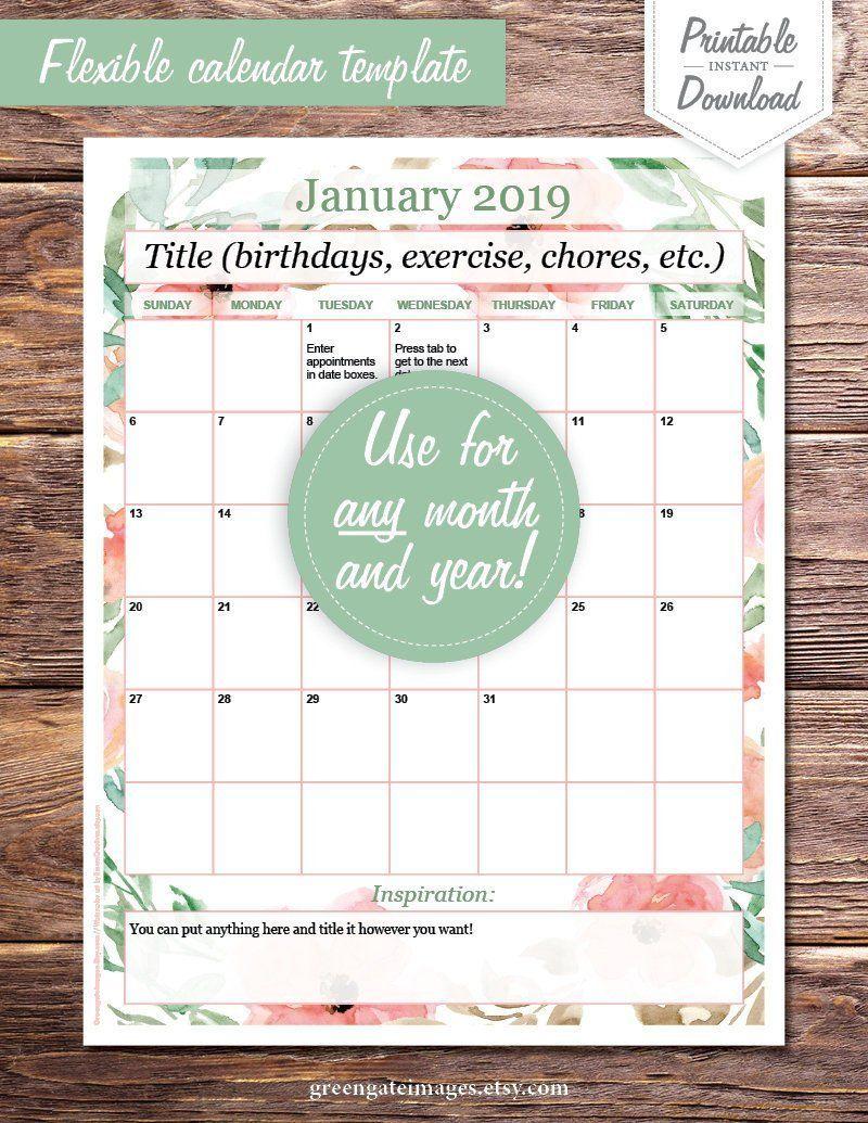 Calendar Template editable calendar page, basic, any