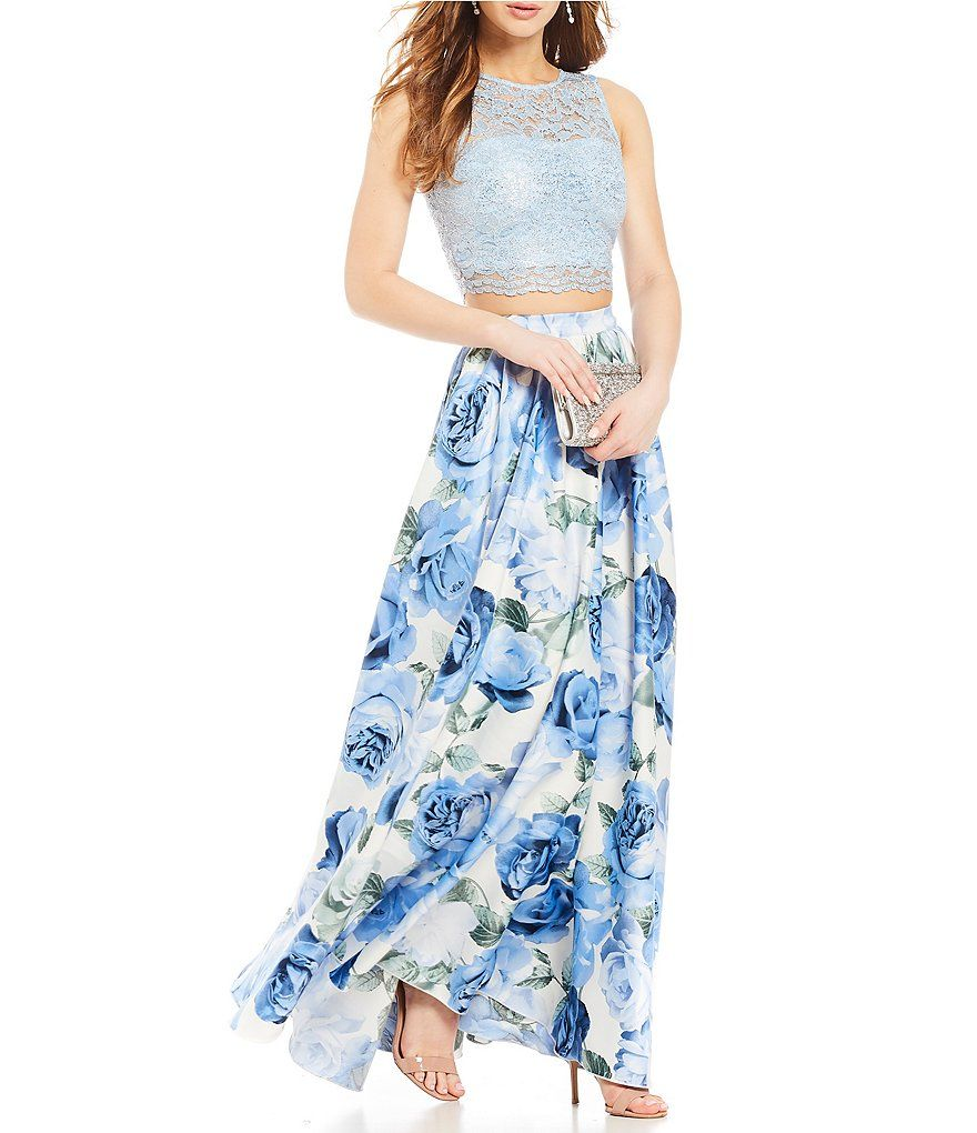Xtraordinary lace top with floral print skirt twopiece dress