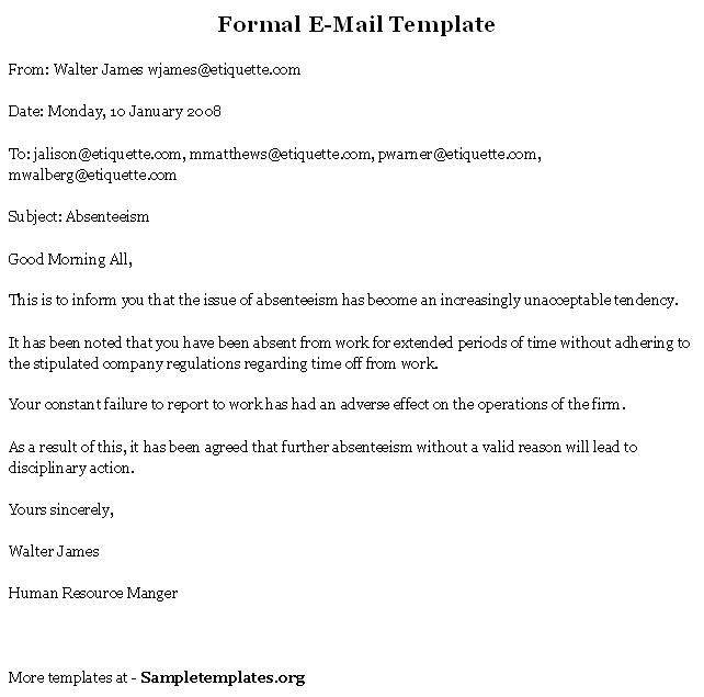 formal email format - Google Search Business documents - format for termination letter