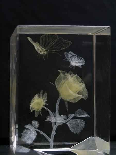 Hot Item 3d Laser Colour Engraved Crystal Yellow White Engraved Crystal Crystals Crystal Garden