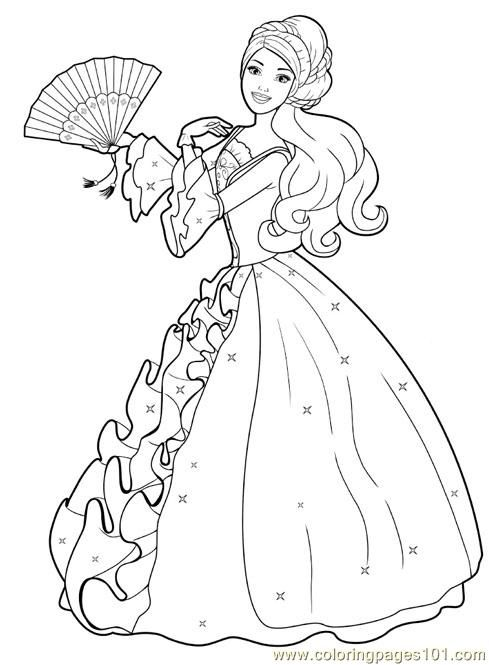 Print a princess free printable coloring page barbie princess colouring pages 2